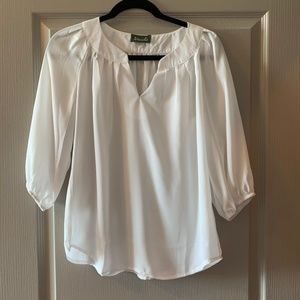 White Blouse with 3/4 Length Sleeves